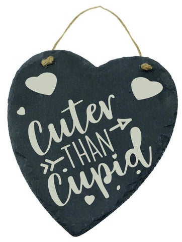 Large Engraved Slate Hanging Heart Valentines Gift Cuter Than Cupid