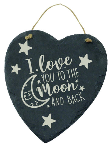 Large Engraved Slate Hanging Heart Valentines Gift I Love You To The Moon And Back