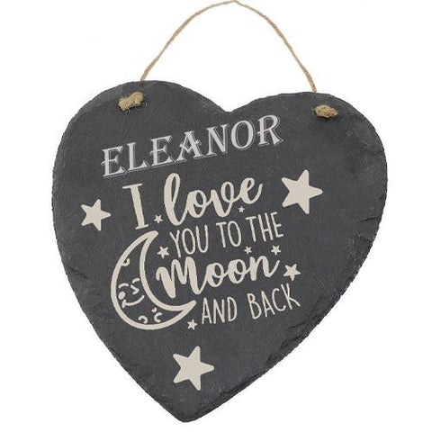 Eleanor Customised Gift Slate Heart I Love you to The Moon And Back Personalised with Any Name