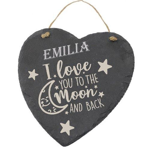 Emilia Customised Gift Slate Heart I Love you to The Moon And Back Personalised with Any Name