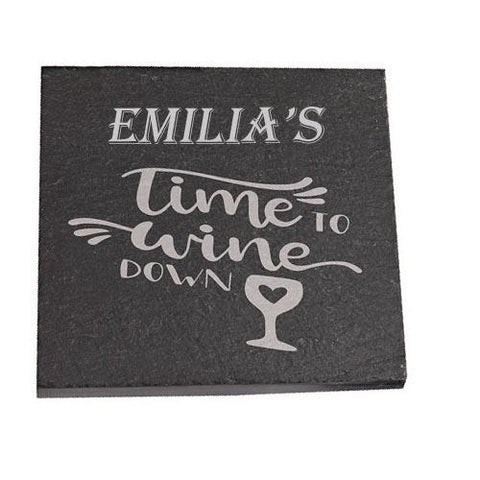 Emilia Personalised Slate Coaster gift Time To Wine Down Personalised with Any Name