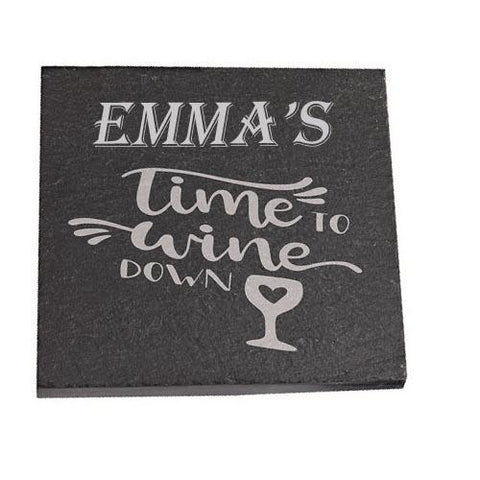 Emma Personalised Slate Coaster gift Time To Wine Down Personalised with Any Name