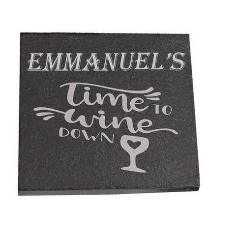 Emmanuel Personalised Slate Coaster gift Time To Wine Down Personalised with Any Name