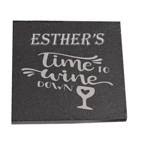 Esther Personalised Slate Coaster gift Time To Wine Down Personalised with Any Name