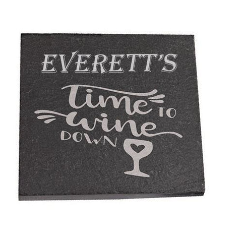 Everett Personalised Slate Coaster gift Time To Wine Down Personalised with Any Name
