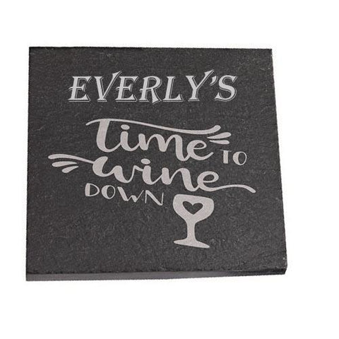 Everly Personalised Slate Coaster gift Time To Wine Down Personalised with Any Name
