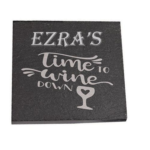 Ezra Personalised Slate Coaster gift Time To Wine Down Personalised with Any Name
