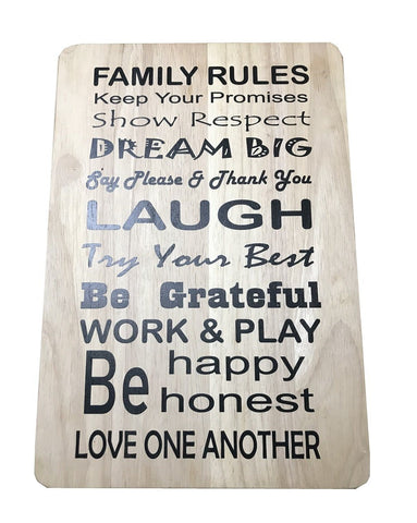 Family Rules chopping Board sign Plaque