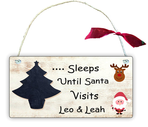 GP88 Gift Hanging Wall Door Sign Plaque Decoration Sleeps Until Santa Visits