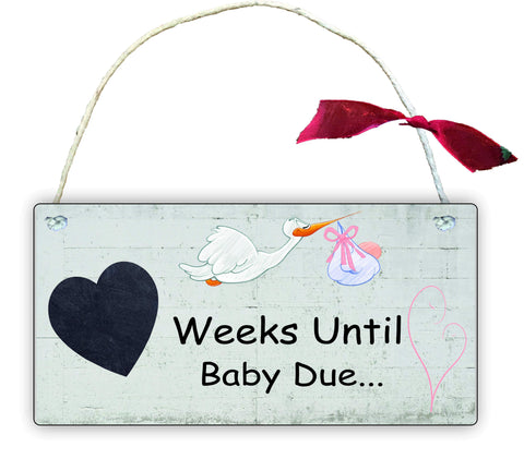 GP91 Gift Hanging Wall Door Sign Plaque Decoration Weeks Until Baby is due, chalkboard