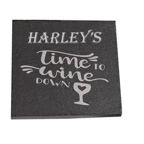Harley Personalised Slate Coaster gift Time To Wine Down Personalised with Any Name