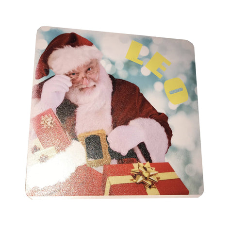 Santa with Glasses Personalised Christmas Wooden Coasters Customised with Child's Name