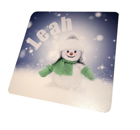 Snowman Personalised Christmas Wooden Coasters Customised with Child's Name