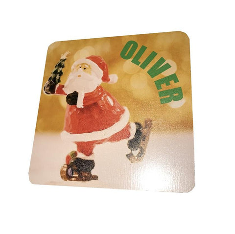 Santa Skating Personalised Christmas Wooden Coasters Customised with Child's Name