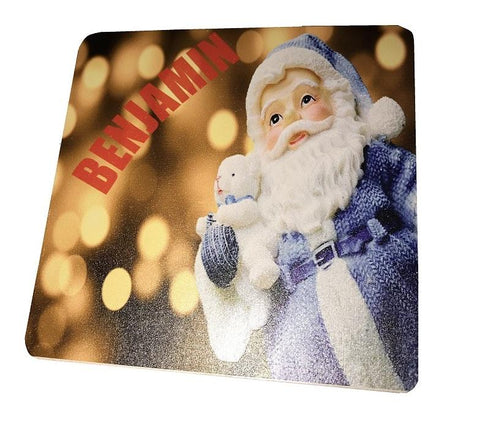 Blue Santa Personalised Christmas Wooden Coasters Customised with Child's Name