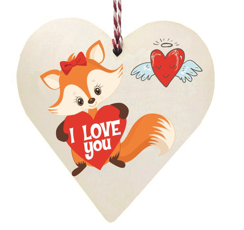 Foxy I Love You Wooden Hanging Love Heart Valentines Gift