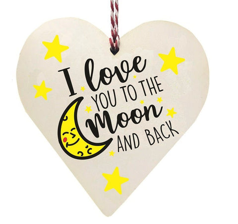 I Love You To The Moon And Back Wooden Hanging Heart Valentines Gift
