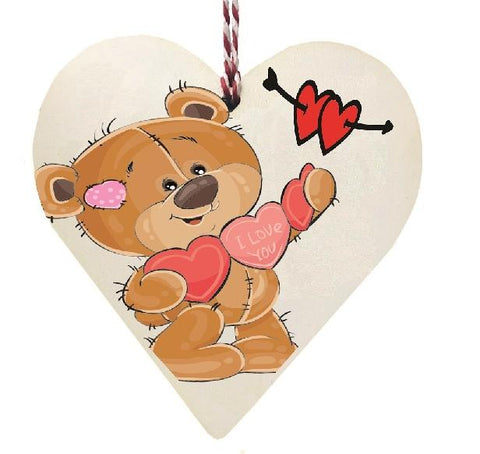 I Love You Brown Teddy Bear Wooden Hanging Love Heart Valentines Gift