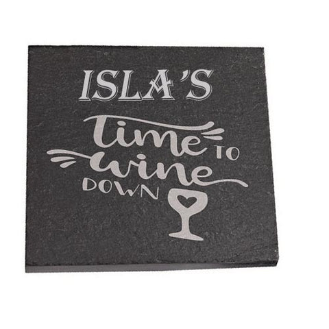 Isla Personalised Slate Coaster gift Time To Wine Down Personalised with Any Name