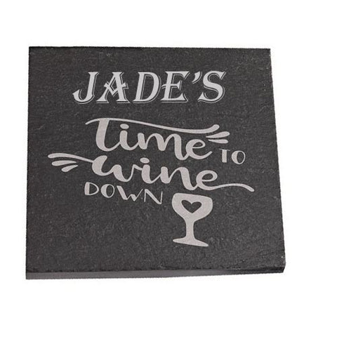 Jade Personalised Slate Coaster gift Time To Wine Down Personalised with Any Name