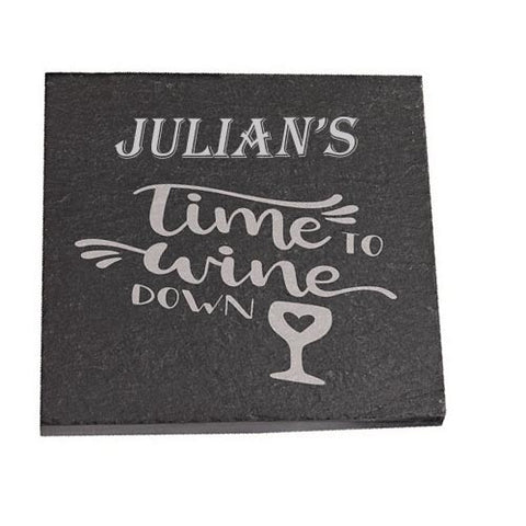 Julian Personalised Slate Coaster gift Time To Wine Down Personalised with Any Name