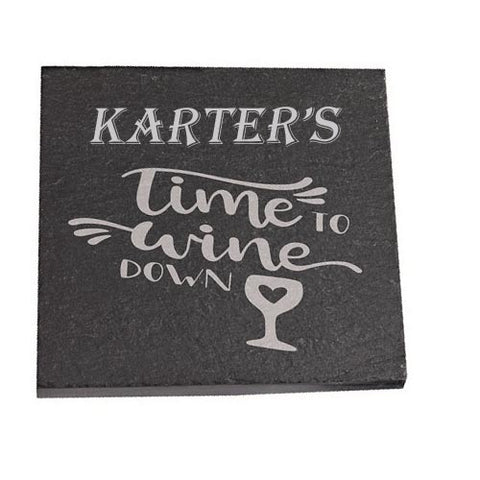 Karter Personalised Slate Coaster gift Time To Wine Down Personalised with Any Name