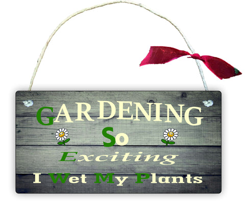 GP14 Gift Hanging Wall Door Sign Plaque Decoration Gardening so exciting i wet my plants
