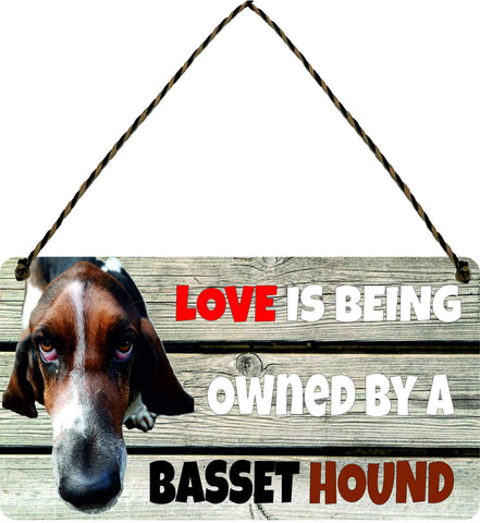 Wooden Wall Plaque Dog Gift Present Love is Being Owned By A basset Hound