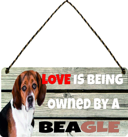 Wooden Funny Sign Wall Dog Plaque Gift Present Love is Being Owned By A Beagle