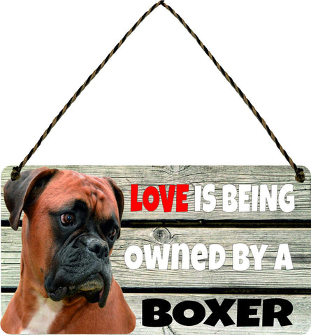 Wooden Wall Plaque Dog Gift Present Love is Being Owned By A Boxer