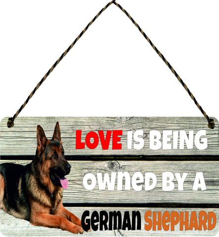 Wooden Wall Plaque Dog Gift Present Love is Being Owned By A German Shepherd