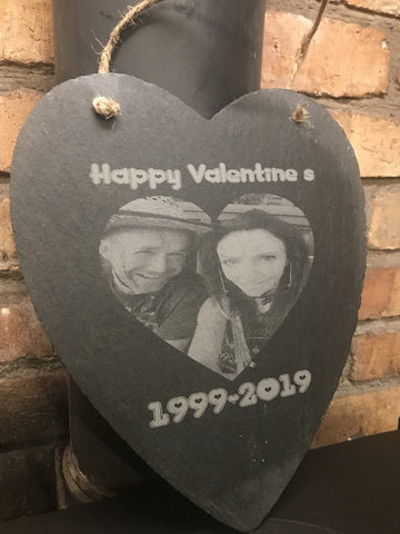Large Personalised Engraved Love Heart Hanging Wall Slate With Picture