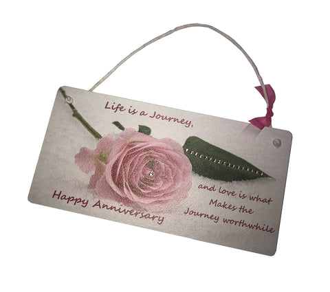 Gift Hanging Wall Door Sign Plaque Decoration Life is a Journey Happy Anniversary GP9