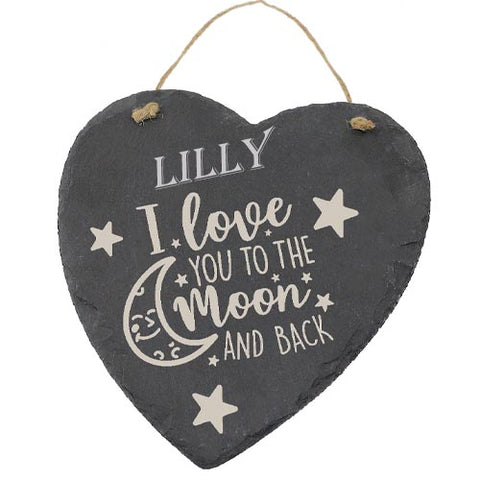 Lilly Customised Gift Slate Heart I Love you to The Moon And Back Personalised with Any Name