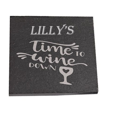 Lilly Personalised Slate Coaster gift Time To Wine Down Personalised with Any Name