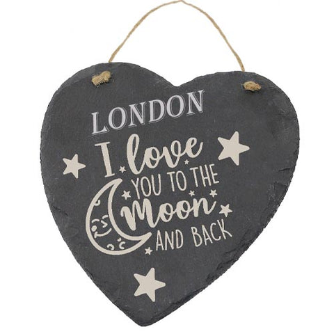 London Customised Gift Slate Heart I Love you to The Moon And Back Personalised with Any Name