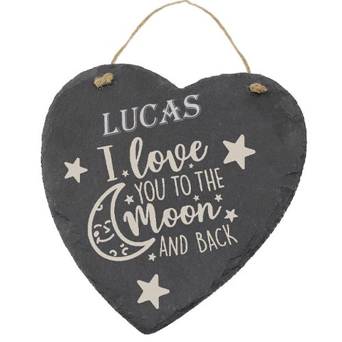 Lucas Customised Gift Slate Heart I Love you to The Moon And Back Personalised with Any Name