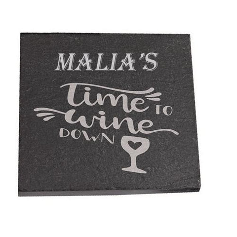 Malia Personalised Slate Coaster gift Time To Wine Down Personalised with Any Name