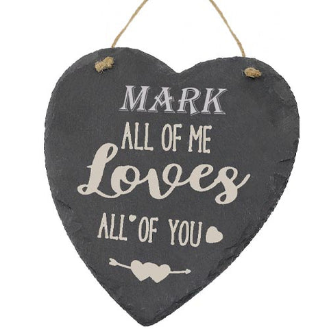 Mark Valentines Gift Love Heart All of Me Loves All Of You Personalised with Any Name