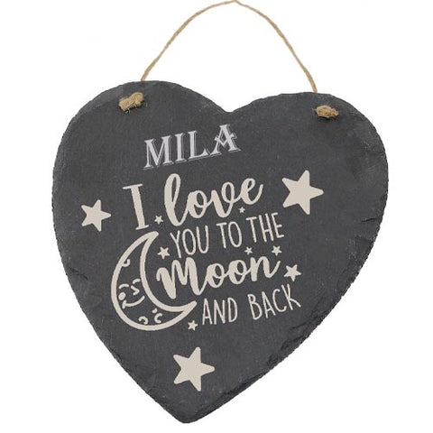 Mila Customised Gift Slate Heart I Love you to The Moon And Back Personalised with Any Name