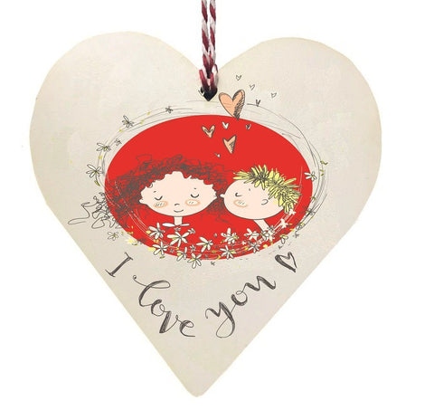 I love You Cartoon boy & Girl Wooden Hanging Love Heart Valentines Gift