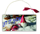 GP6 Gift Hanging Wall Door Sign Plaque Decoration Let It Snow Christmas