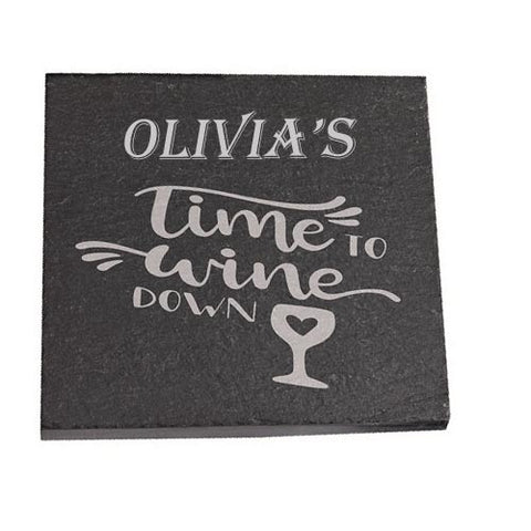 Olivia Personalised Slate Coaster gift Time To Wine Down Personalised with Any Name