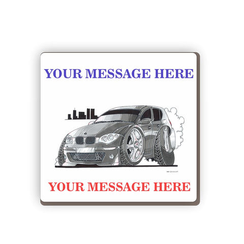 BMW 1 Series grey Personalised Cartoon Car Coaster