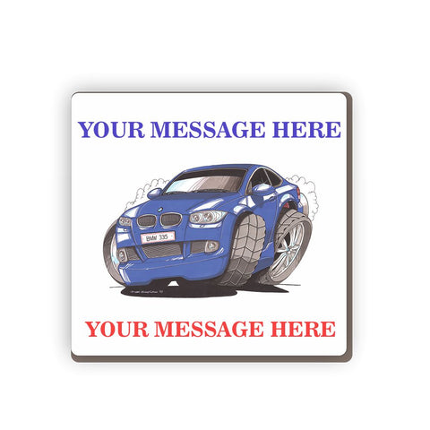 BMW 335i Personalised Cartoon Car Coaster