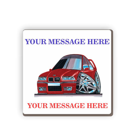 BMW M3 E36 Personalised Cartoon Car Coaster