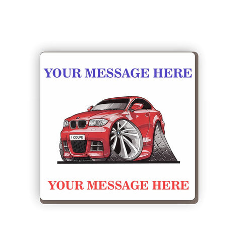 BMW 1 Personalised Cartoon Car Coaster