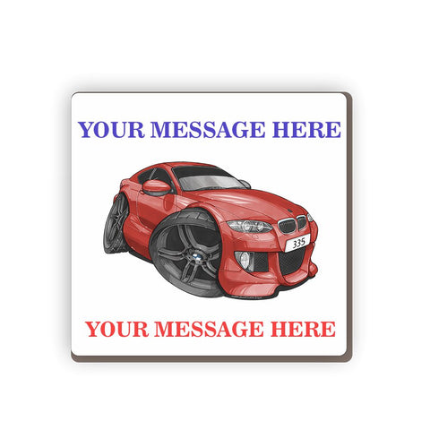 BMW 335 Personalised Cartoon Car Coaster