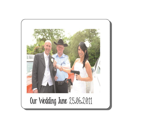 Personalised photo upload wedding retro coaster own images & captions upload x4