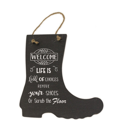 Please Remove Your boots shoes Porch Hanging welly Door Sign slate Plaque Gift